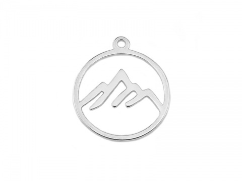 Sterling Silver Mountain Pendant 13mm