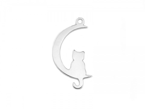 Sterling Silver Cat and Moon Pendant 18.5mm