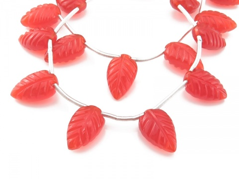 AAA Carnelian Carved Leaf Briolettes 12-13mm ~ 8'' Strand