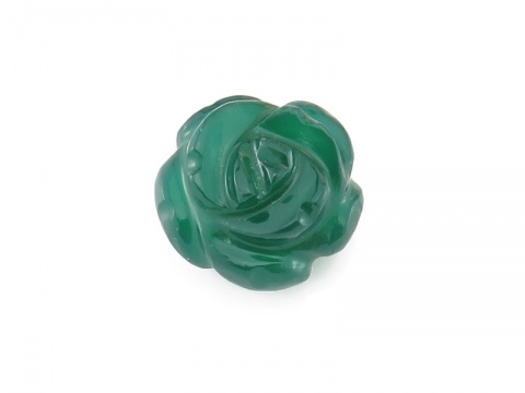 AAA Green Onyx Carved Flower 18mm Flower ~ Half Drilled ~ SINGLE