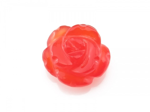 AAA Carnelian Carved Flower 18mm ~ Half Drilled ~ SINGLE