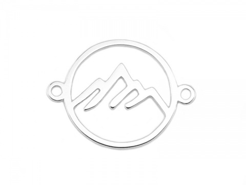Sterling Silver Mountain Connector 17mm