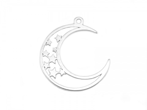 Sterling Silver Moon & Star Pendant 17mm
