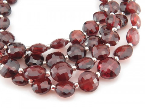 AA+ Rhodolite Garnet Faceted Coin Beads 5-6mm ~ 9'' Strand