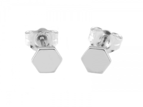 Sterling Silver Hexagon Ear Studs ~ PAIR