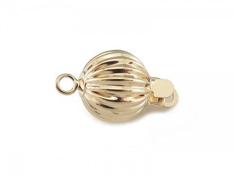 14K Gold Corrugated Bead Clasp 8mm