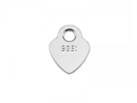 Sterling Silver Stamped Heart Tag 4.5mm