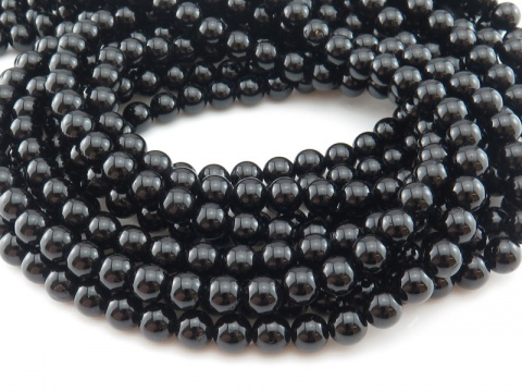 Black Tourmaline Smooth Round Beads ~ Various Sizes ~ 15.5'' Strand