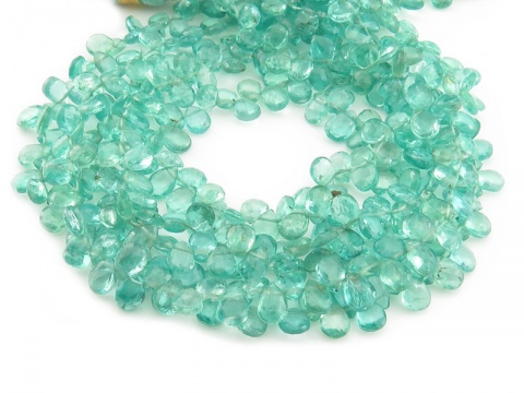 AA Ocean Apatite Faceted Pear Briolettes 5.5-6.5mm ~ 9'' Strand