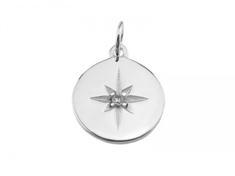 Sterling Silver Pole Star Pendant with CZ 14mm