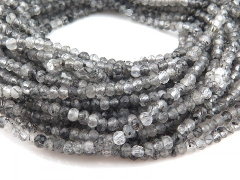 AAA Tourmalinated Quartz Faceted Round Beads 3.5mm ~ 12.5'' Strand