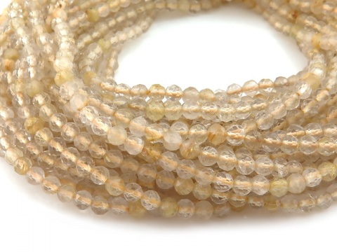 AAA Golden Rutilated Quartz Faceted Round Beads 3.25mm ~ 12.5'' Strand
