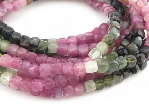 AA Multi-Tourmaline Faceted Cube Beads 4mm ~ 12'' Strand