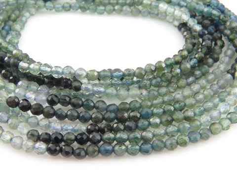 AA Blue Green Tourmaline Faceted Round Beads 2.25mm ~ 12'' Strand