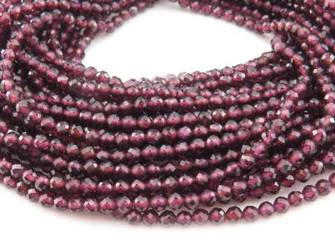 AAA Rhodolite Garnet Micro-Faceted Round Beads 3.25mm ~ 12.5'' Strand