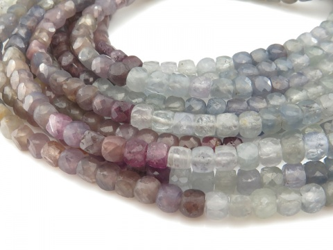 Multi Sapphire Faceted Cube Beads 4mm ~ 12.5'' Strand