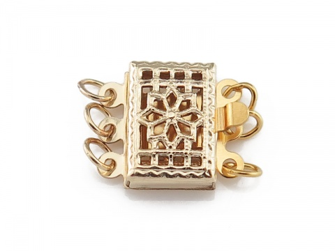 Gold Filled Rectangular Filigree Clasp 10.5mm - 3 Row