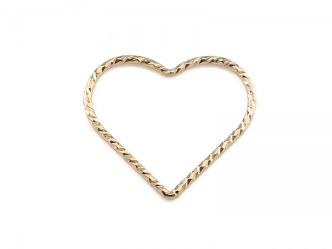 Gold Filled Sparkle Heart Connector 17.5mm