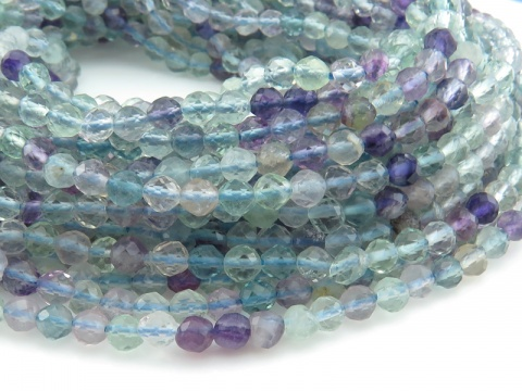 AAA Fluorite Micro-Faceted Round Beads 3.5mm ~ 12.5'' Strand