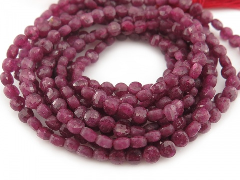 Ruby Faceted Coin Beads 4mm ~ 12.5'' Strand