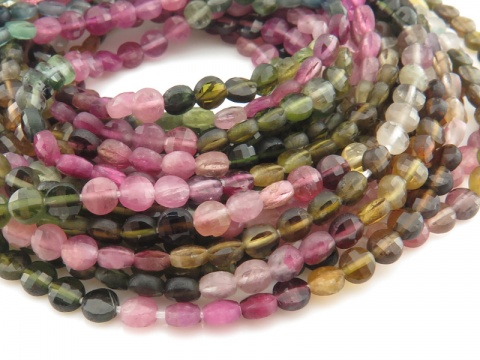 AA Multi-Tourmaline Faceted Coin Beads 3.75mm ~ 12.5'' Strand