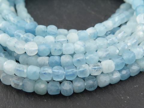 AA Shaded Aquamarine Faceted Cube Beads 4mm ~ 12.5'' Strand