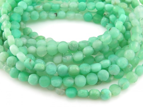 AA Chrysoprase Faceted Coin Beads 3.75mm ~ 12.5'' Strand