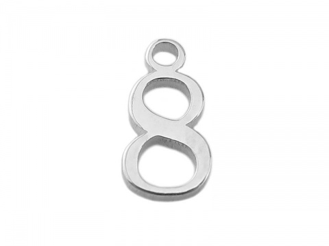 Sterling Silver Number Charm ~ 8