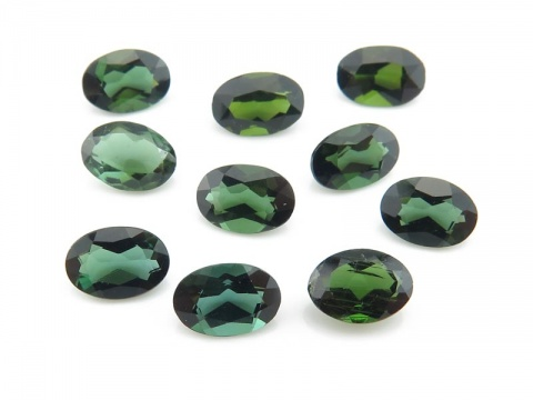Dark Green Tourmaline Faceted Oval 6mm x 4mm