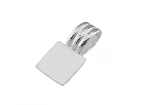 Sterling Silver Flat Base Glue On Square Bail