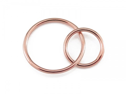 Rose Gold Filled Double Circle Connector 16mm & 12mm