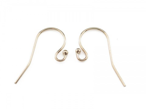 14K Gold Ball End Ear Wire ~ PAIR