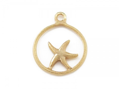 Gold Vermeil Framed Starfish Charm 14mm