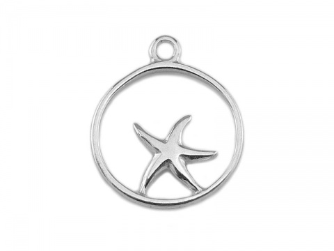 Sterling Silver Framed Starfish Charm 14mm
