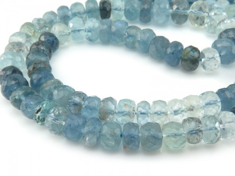 AA Shaded Aquamarine Micro-Faceted Rondelles ~ Various SIzes ~ 16'' Strand