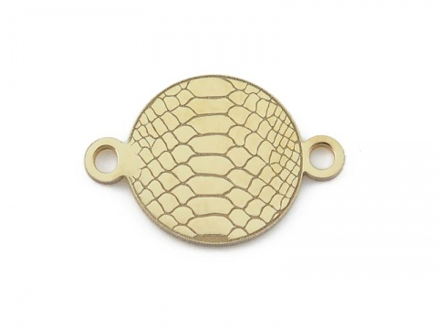 Gold Vermeil Snakeskin Print Connector 14mm