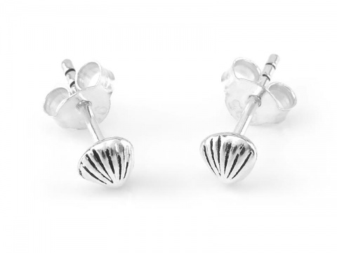Sterling Silver Shell Studs  ~ PAIR