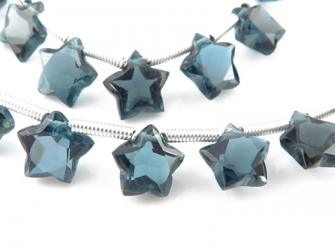 AA+ London Blue Topaz Faceted Star Briolettes 7mm ~ 7.5'' Strand
