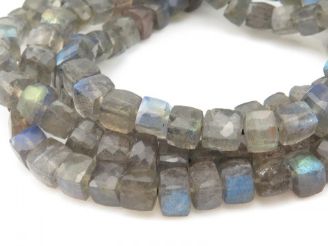 AA Labradorite Faceted Cube Beads 5mm ~ 8'' Strand