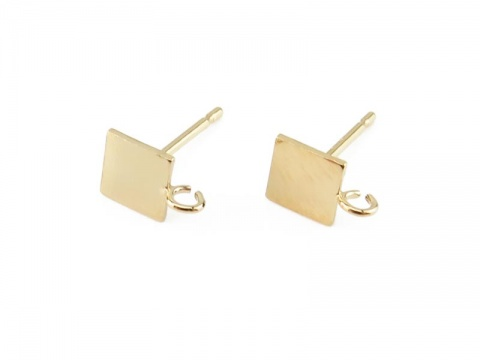 Gold Filled Square Ear Post with Ring ~ PAIR