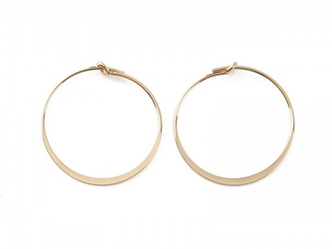 Gold Filled Flattened Hoop 20mm ~ PAIR
