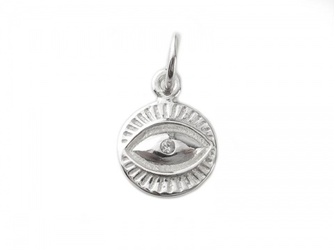 Sterling Silver Eye Charm 9mm