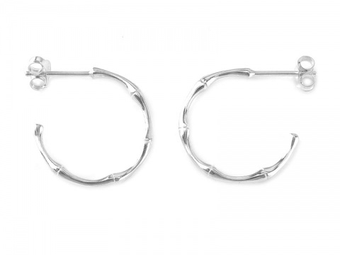 Sterling Silver Bamboo Ear Hoops  ~ PAIR