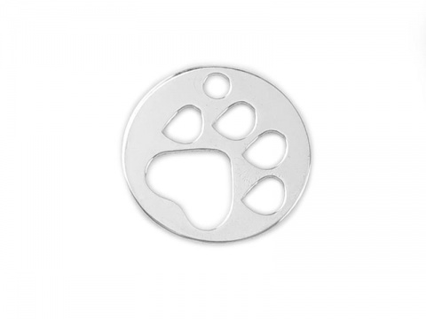 Sterling Silver Paw Print Charm 10mm
