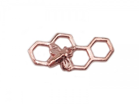 Rose Gold Vermeil Honeycomb Bee Connector 17mm