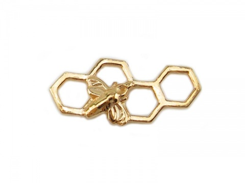 Gold Vermeil Honeycomb Bee Connector 17mm