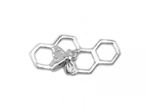Sterling Silver Honeycomb Bee  Connector 17mm
