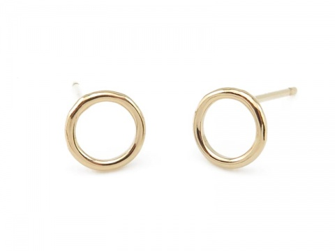 Gold Filled Round Circle Ear Posts 7mm ~ PAIR