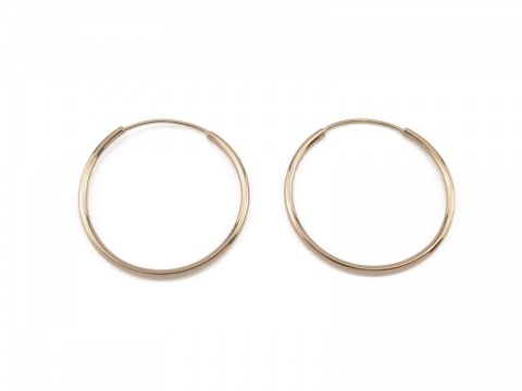 14K Gold Ear Hoops 20mm - PAIR