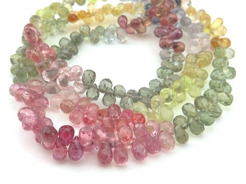 AA+ Multi Sapphire Micro-Faceted Teardrop Briolettes 4-5mm ~ 16'' Strand